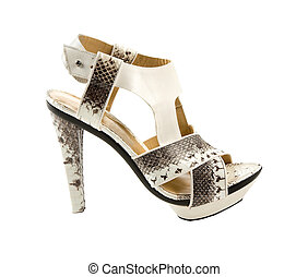 Python sandal stiletto isolated on white background. Clipping path included.