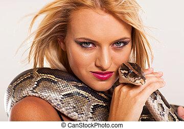 python, sexy, vrouw, jonge