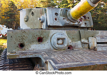 PzKpfw VI Tiger destroyed tank on a sunny day in autumn