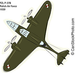 PZL P-37B WW2 Combat Plane - Sketch of PZL P-37B Polish Air...