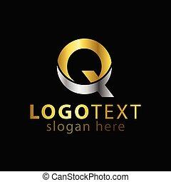 q, письмо, логотип, значок, вектор, шаблон