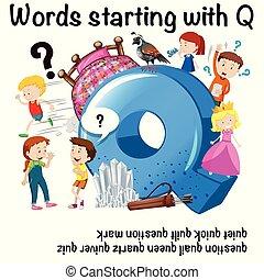 q, ポスター, 教育, 始める, 言葉