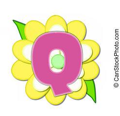 q, alfabeto, flor, alfinete, amarela