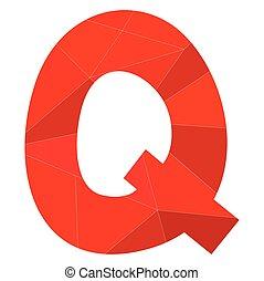 q, alfabeto, vettore, rosso, lettera
