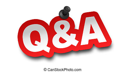 q and a concept 3d illustration isolated on white background