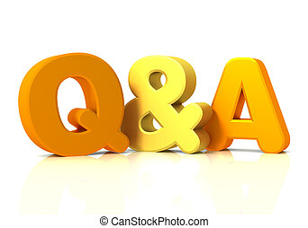 q and a concept 3d illustration - q and a isolated on white ...