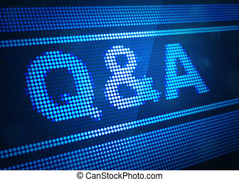 q and a digital screen 3d illustration with blue colour