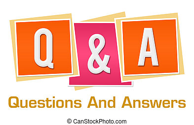 Q And A Pink Orange Blocks - Q and A text alphabets written ...