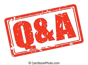 Q and A red stamp text on white