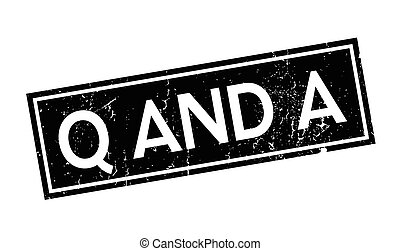 Q And A rubber stamp. Grunge design with dust scratches. ...