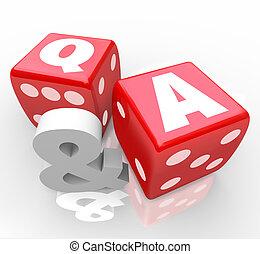 q, and, , questions, answers, буквы, на, красный, игральная кость