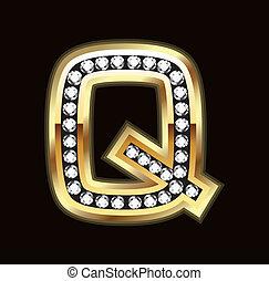q, bling, lettera