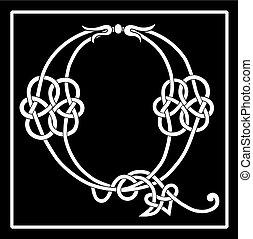 q, celtico, knot-work, lettera, capitale