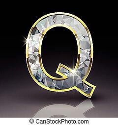 q, diamante, baluginante, lettera, 3d