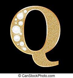 q, diamante, lettera, oro