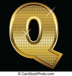 q, dourado, fonte, tipo, letra
