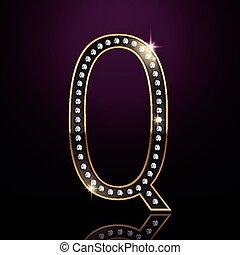 q, elegante, diamante, lettera, 3d