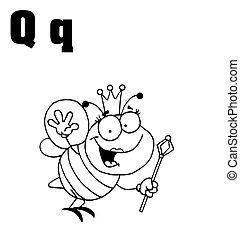 q, esquissé, reine, lettres, abeille