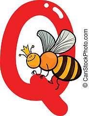 Q for queen bee - cartoon illustration of Q letter for queen...
