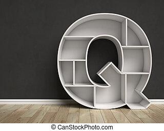 q, formé, lettre, étagères