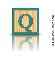 q, houten, vector, brief, blok