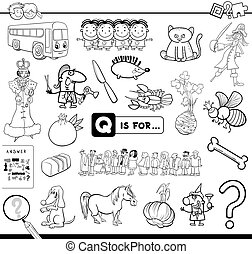 Black and White Cartoon Illustration of Finding Picture Starting with Letter Q Educational Game Workbook for Children Coloring Book