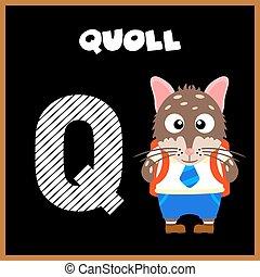 q, letra alfabeto, inglês