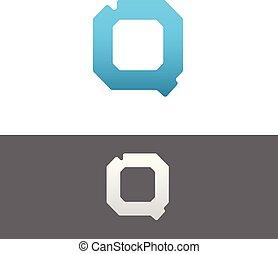 Q Letter Alphabet Abstract vector text logo