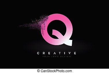 Q Letter Logo with Dispersion Effect and Purple Pink Powder ...