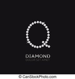 q, lettera, gemstones
