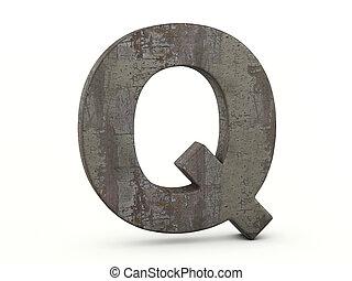 q, lettre, métal rouillé