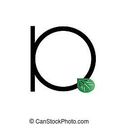 q, logo, initiale, feuille, lettre