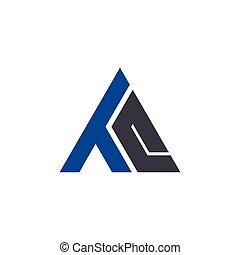 q, logo, t, początkowy, litera, trójkąt