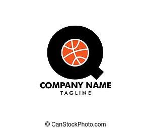 q, logotipo, basquetebol, letra, modelo