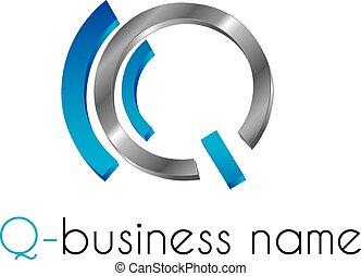 q, logotipo, lettera