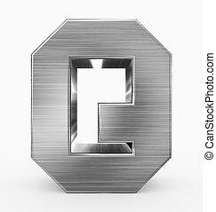 q, métal, 3d, isolé, lettre, cubique, blanc