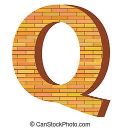 q, mattone, lettera