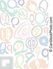 q, pastell, colorato, lettera