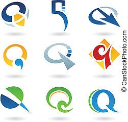 q, résumé, lettre, icônes