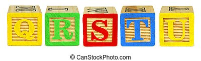 Q R S T U wooden toy letter blocks isolated on white