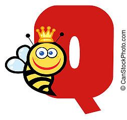 q, reine, lettre, abeille