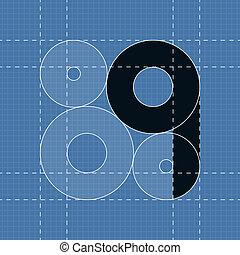 q, símbolo, engenharia, font., redondo
