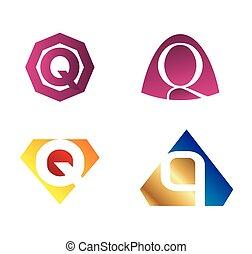 q, vettore, set, lettera