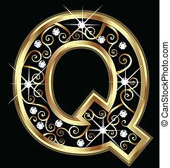 q, zlatý, litera, s, swirly, ozdoby