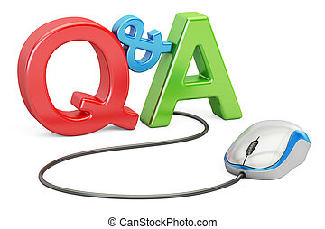 Q&A concept with computer mouse, 3D rendering