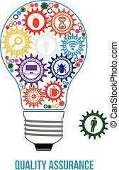 QA engineer design concept. Light bulb composed of interconnected gears with different components of quality assurance. Last gear is missed - that will connect all of them - last part of solution.