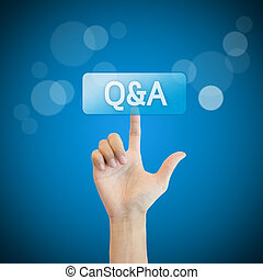 Q&A. hand man pressing questions and ask button.