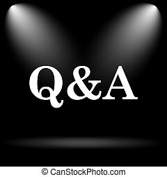 Q&A icon. Internet button on black background.