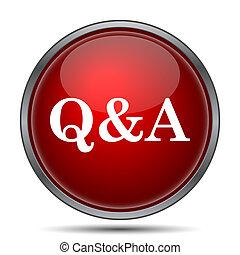 Q&A icon. Internet button on white background.