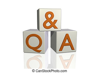 "Q&A - Image of ""Q & A"" on 3d blocks isolated on a white ..."